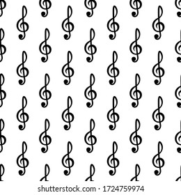 Treble clef seamless vector pattern on a white isolated background
