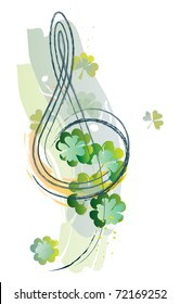 Treble clef and shamrock in watercolour style