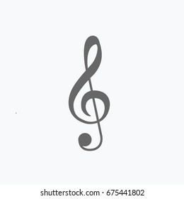 treble clef symbol flat design style for music. Musical note sign cartoon. beautiful Sol key icon isolated vector on light gray background