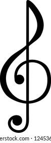 Treble clef symbol vector illustration in black and white