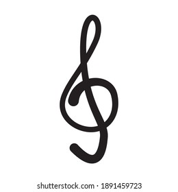Treble clef. Vector drawing on a white background.