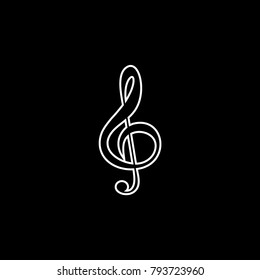 Treble clef vector icon