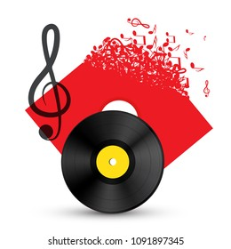 Treble Clef with Vinyl Record Disc. Vector Audio Music Concept with Notes on LP Cover.