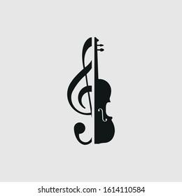 Treble clef and violin icon vector