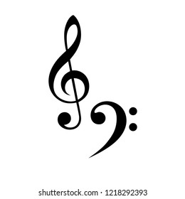 treble clefs template black, tribal tattoo style,  isolated vector musical sign - treble clefs, black flat icon,  symbols for template - treble clefs for design illustration, interior, clothes