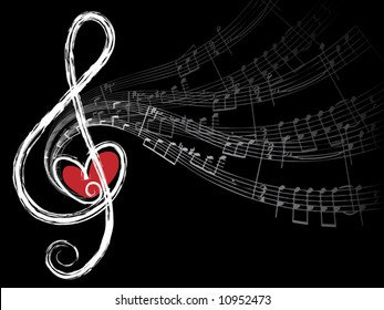 treble love and music notes (vector) - illustration