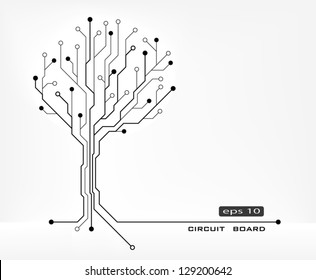 tree abstract shape circuit board vector background