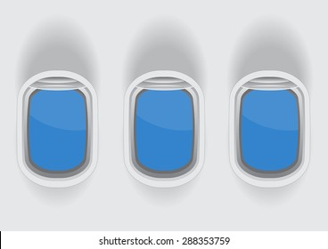 tree airplane windows with blank glass space for your text vector illustrations
