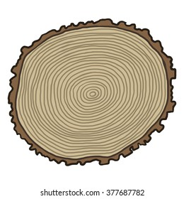 tree annual rings / cartoon vector and illustration, hand drawn style, isolated on white background.