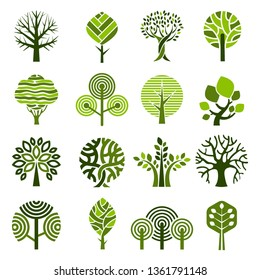 Tree badges. Abstract graphic nature eco pictures simple growth plants vector emblem