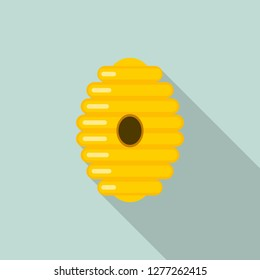 Tree bee hive icon. Flat illustration of tree bee hive vector icon for web design