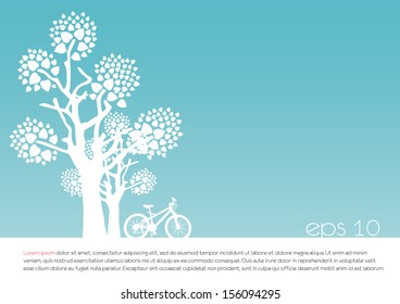 tree an bicycle over��� Blue background vector illustration