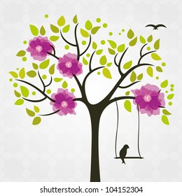 Tree and birds stylized with flowers and swing.