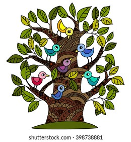 tree with the birds vector