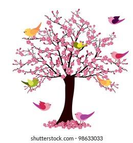tree with birds - vector