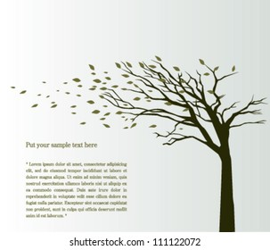 Tree blowing in the wind vector background
