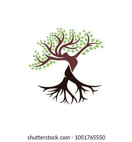 Tree with Body Women Logo Design Template.