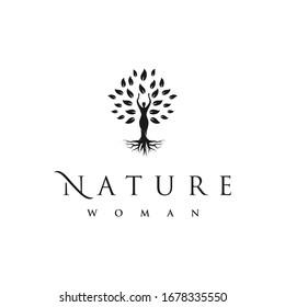 Tree with Body Women Logo Design Template