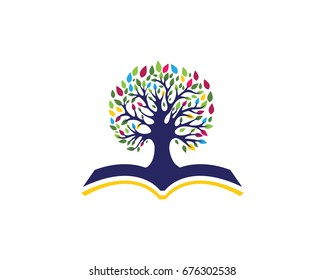 tree with book Education Logo Template