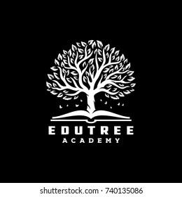Tree Book logo vintage illustration