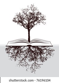 tree with book and roots