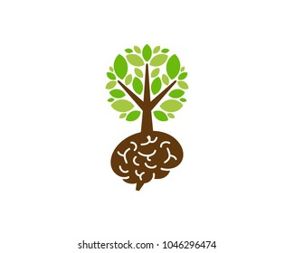 Tree Brain Icon Logo Design Element
