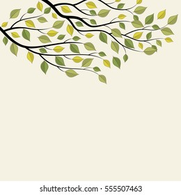 Tree branch with green leaves. Vector illustration on white background.