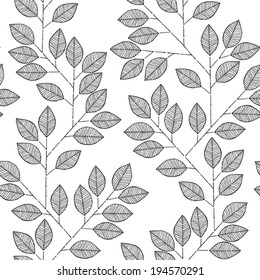 Tree branch seamless pattern in black and white is hand drawn ink illustration. Illustration is in eps8 vector mode, background on separate layer.