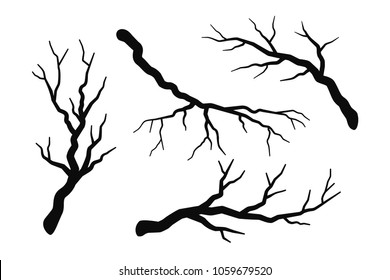 Tree branch without leaves silhouettes set isolated on white, bare branches vector illustrations