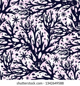 Tree branches or coral algae doodle linear seamless pattern.