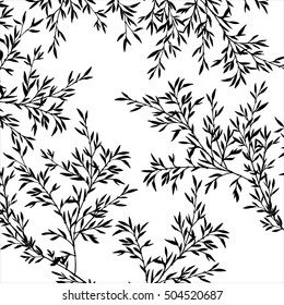 tree branches with leaves, nature background with bamboo shoots, hand drawn vector illustration, forest backdrop