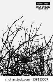 Tree branches silhouette. Vector and illustration.