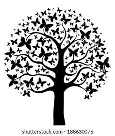 Tree with butterflies. Vector Illustration