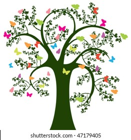 tree and butterfly on white background