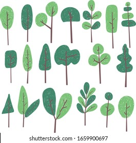 Tree cartoon cut set doodle sketch