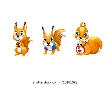 bc700c29398 Tree cartoon cute squirrel. Girl squirrel. A squirrel boy is holding a nut.