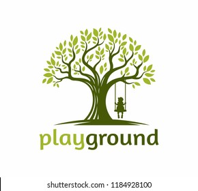 tree with a child play the swing under the tree logo illustration