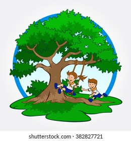 A tree with a child play the swing under the tree, Illustration of Kids Playing with a Tree