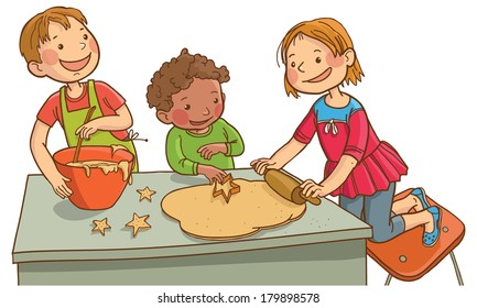 Tree children making cookies.