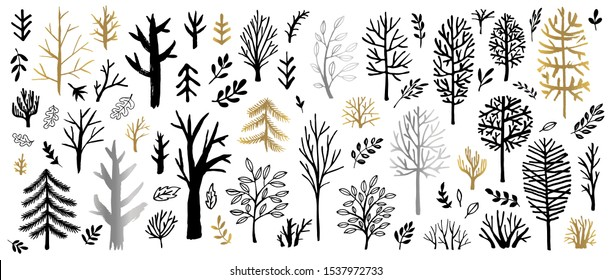 Tree Christmas tree bushes forest color golden brush strokes sketch markers pen. Floral leaf different plants bush collection. Hand drawn vector illustration.