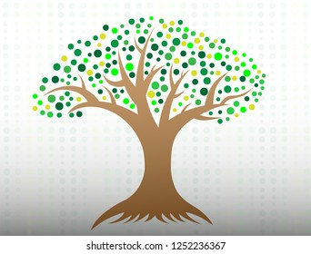 A tree with circle leaves and roots logo icon. avalaible eps 10