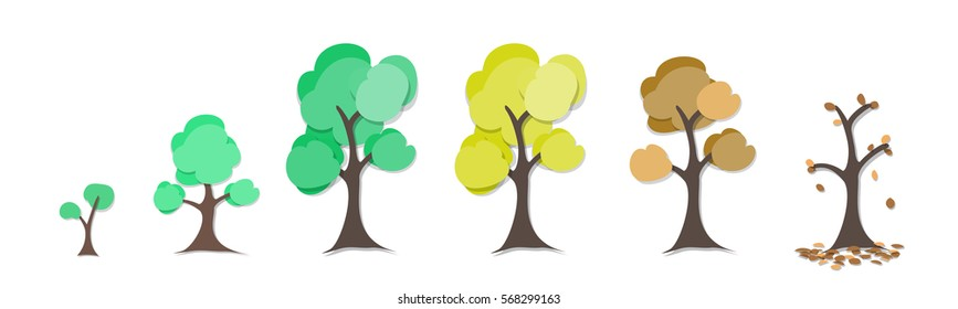 tree circle of life graphic art in paper art style , ecology concept illustration and design element