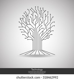 tree circuit board technology abstract template background vector