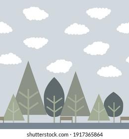Tree cloud and sky seamless texture