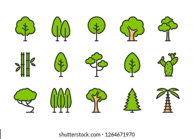 Tree color line icons. Plant vector linear colorful icon set. Isolated icon collection on white background.