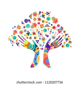 Tree with colorful human hands together. Community team concept illustration for culture diversity, nature care or teamwork project. EPS10 vector.