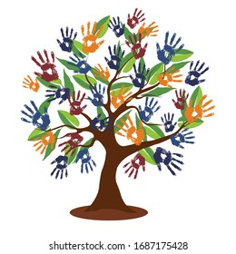 Tree with colorful human hands together. Hand-prints tree. EPS10 vector. Stylized vector tree.