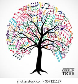 tree with colorful music notes / silhouette vector illustration