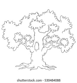 Tree coloring book. Cartoon tree circuit. Vector isolated