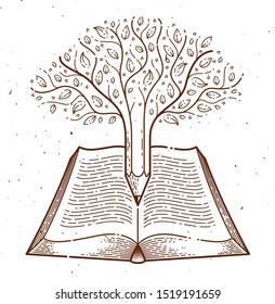Tree combined with pencil over open vintage book education or science knowledge concept, educational or scientific literature library vector logo or emblem.